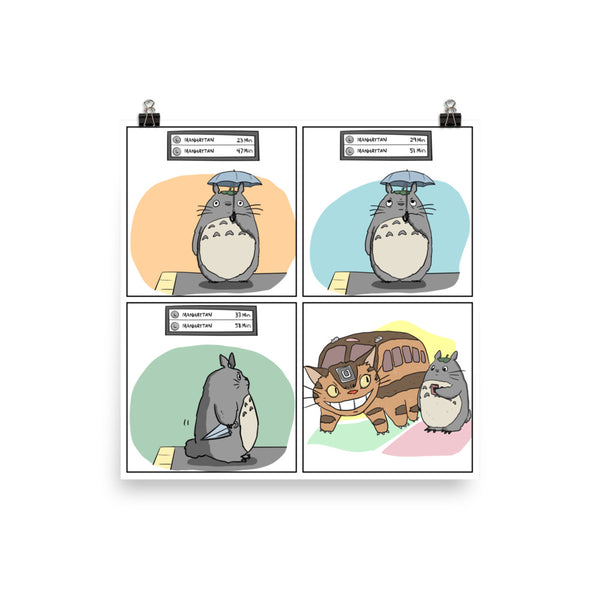 Totoro waits for the NYC subway poster
