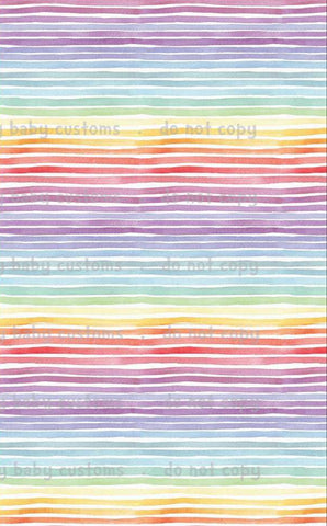 Fabric Pastel Watercolour Rainbow (Puffin) Stripes ON VARIOUS BASES