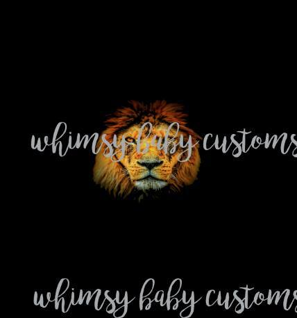650 Orange Grunge Lion on Black Child Panel