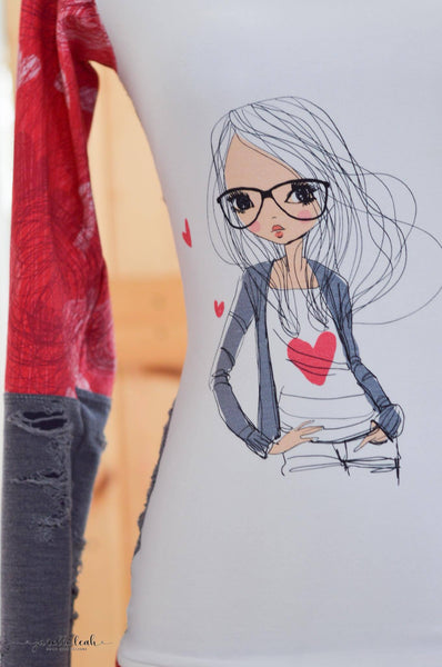 R049 Girl with Heart Shirt and Love Rapport