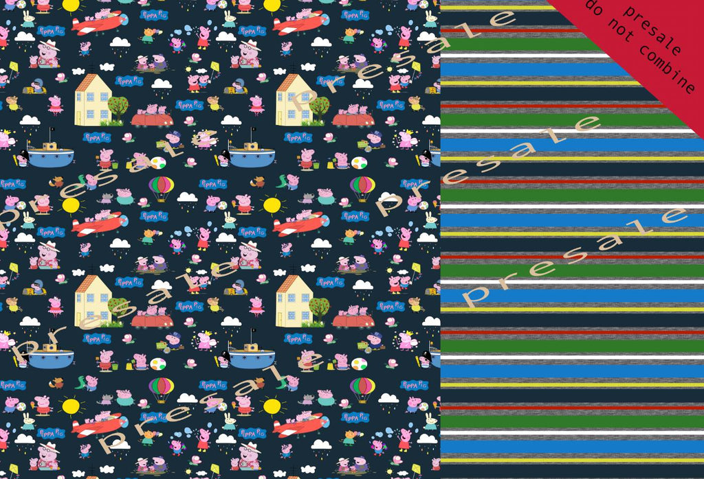 Peppa Pig NAVY Half main and Half Stripes Fabric