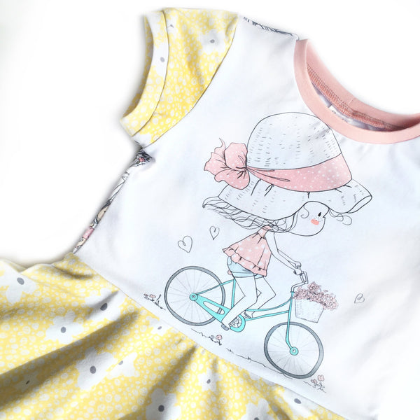 N736 Girl on a Bicycle Child Panel