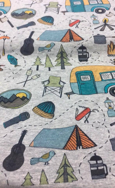 Time to Go Camping on Heather Grey Fabric