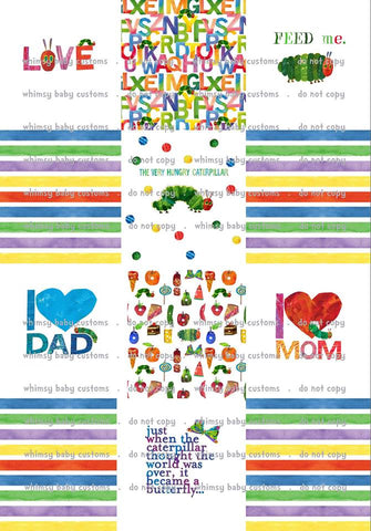 VERTICAL Lazy Quilt Rapport Hungry Caterpillar, 1 meter on MINKY