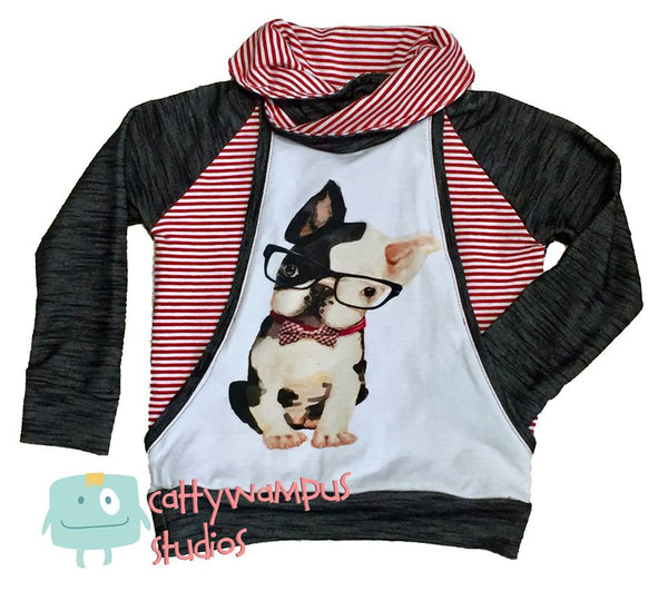 434W Hipster French Bulldog with Glasses Child Panel (on WHITE)