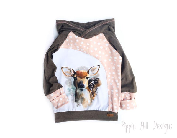 A1023 Deer Watercolour Adult/Romper Panel