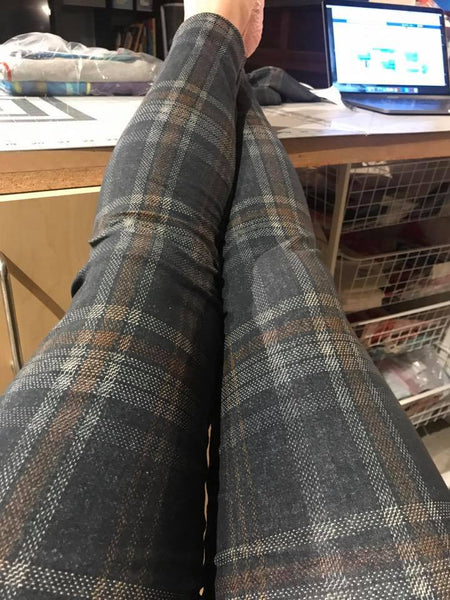 New Arrivals: Grey and Mustard Tartan Plaid Fabric - French Terry