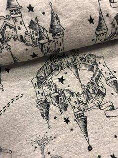 Fabric Harry Potter Map on Heather Grey