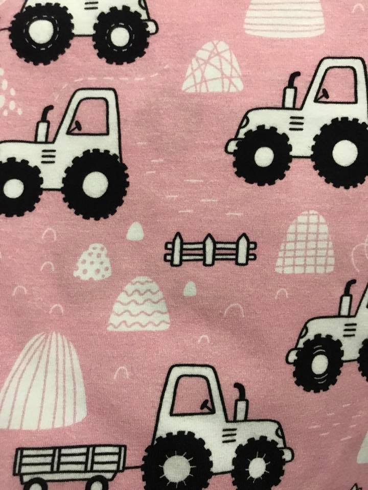 PINK Tractors Fabric