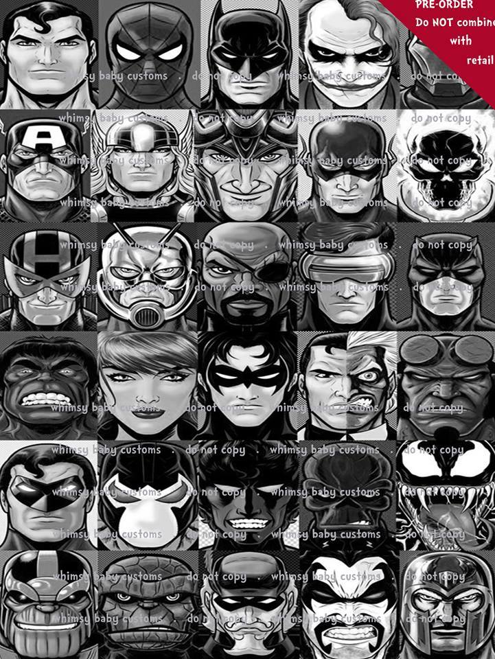 Whimsy Fluff Marvel Superheroes Black and White 2m