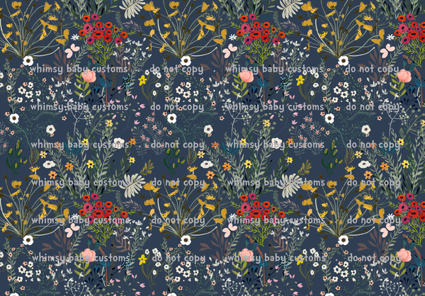 Fabric Wildflowers on Navy