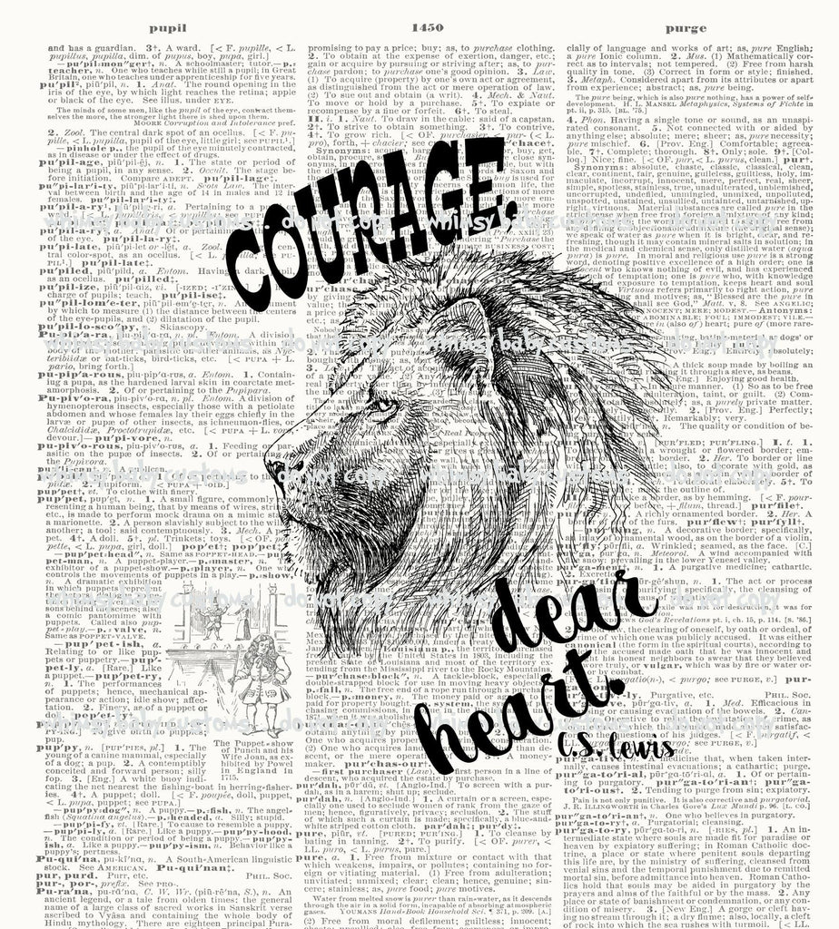 A1064 Adult/Romper Panel Narnia Aslan - Courage Dear Heart