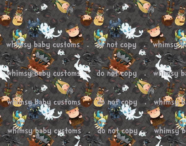 Fabric How to Train your Dragon Character Print