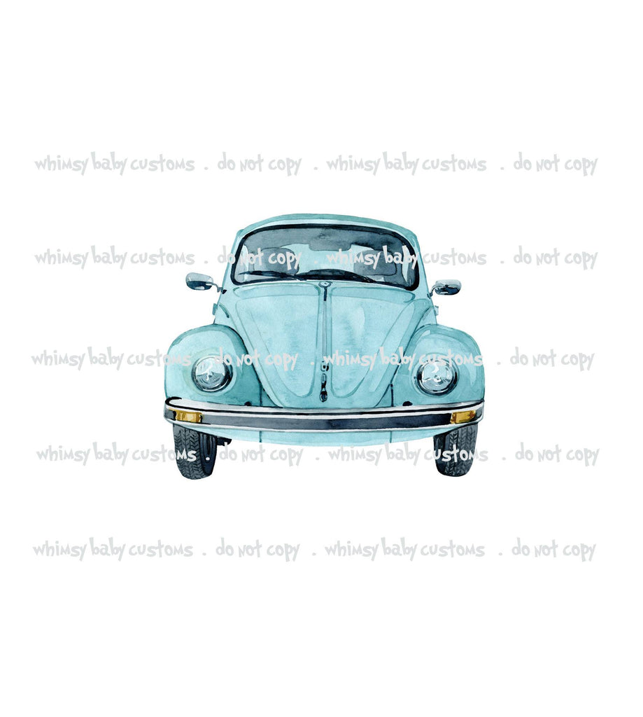 321  Child Panel Watercolour VW Blue Bug / Car
