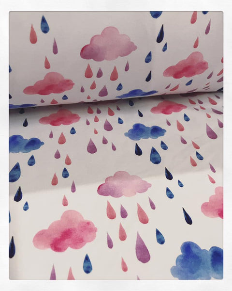 Fabric Watercolour Pink and Blue Clouds