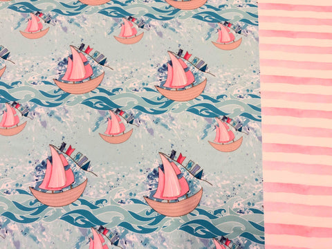 Swim Fabric Pink Sailboat and Watercolor Stripes Half and Half