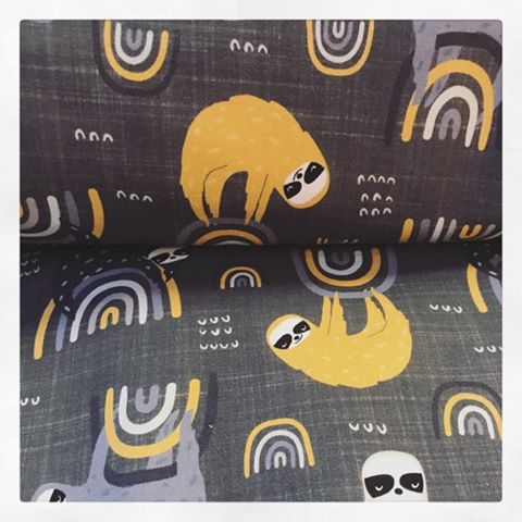 Sloths and Raindows Fabric on GREY