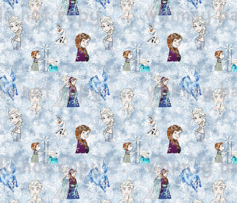Fabric Cold Sisters Main Print with Snow Background ON VARIOUS BASES