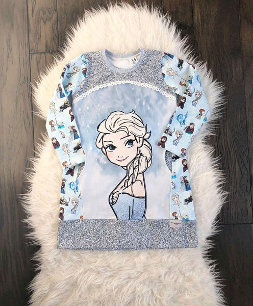 Destash: Cold Sisters 2: Hand Drawn Ice Queen Profile / Side View Child Panel (FRENCH TERRY)