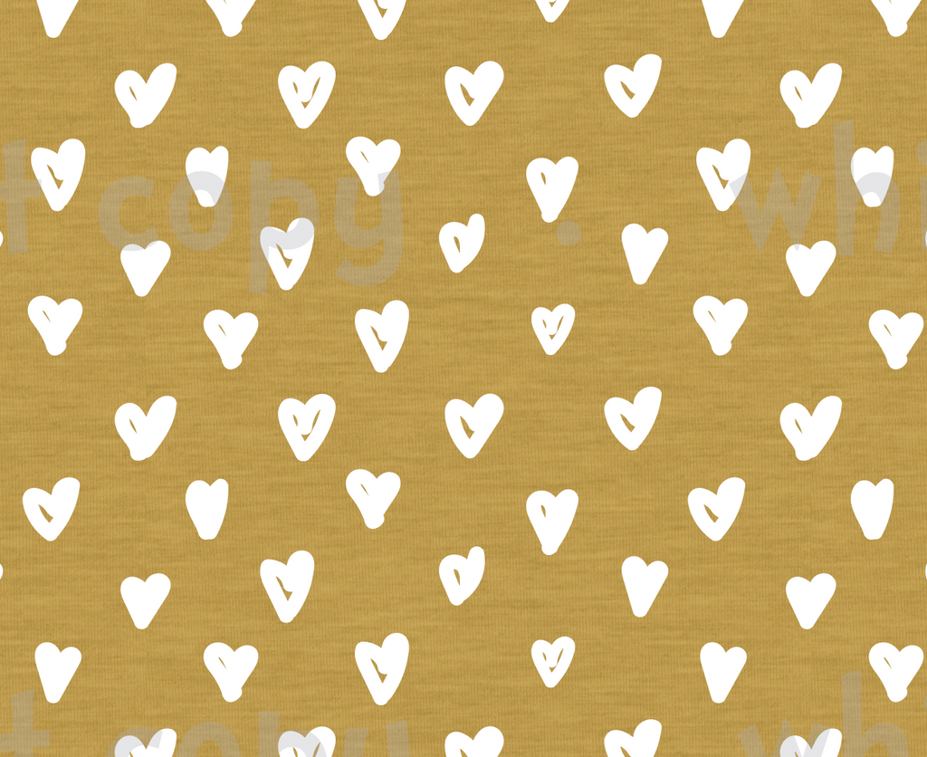 Fabric White Hearts on Mustard