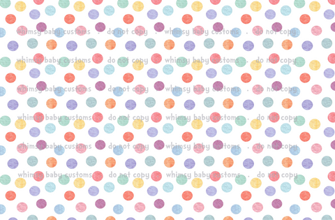 Fabric Pastel Rainbow LARGE Dots on White