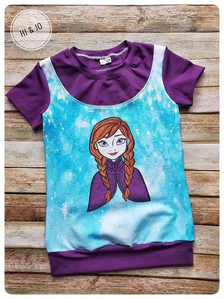 C262 Cold Sisters 2 Hand Drawn Ice Princess Child Panel on (FRONT) (Cotton Lycra)