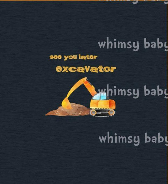 Feb/March 2020 Preorder - Adult/Romper Panel See You Later Excavator on Navy faux sweater knit
