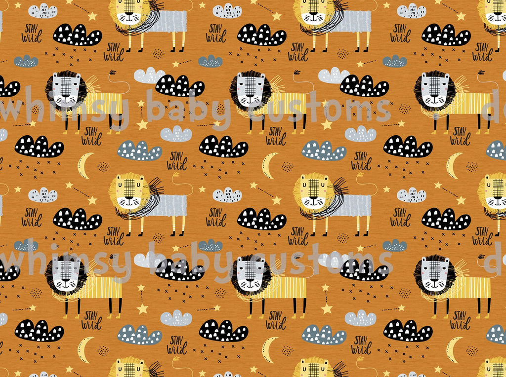 Feb/March 2020 Preorder - Fabric Stay Wild Lions on FAUX mustard sweater knit ON VARIOUS BASES