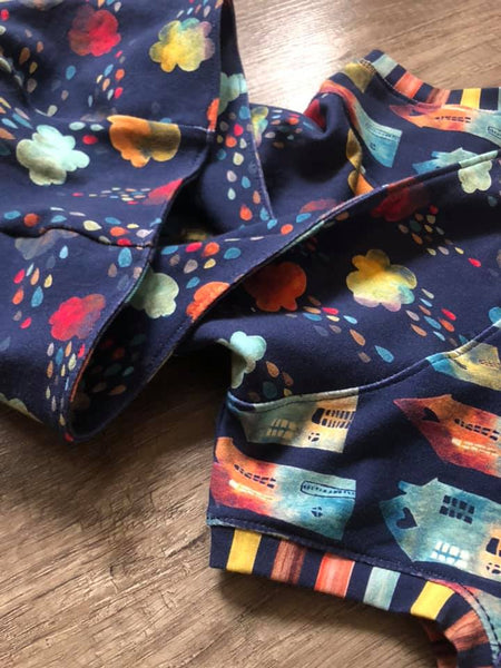 Fabric Earthtoned Rainbow Collection Rainclouds and Houses HALF AND HALF on Navy ON VARIOUS BASES