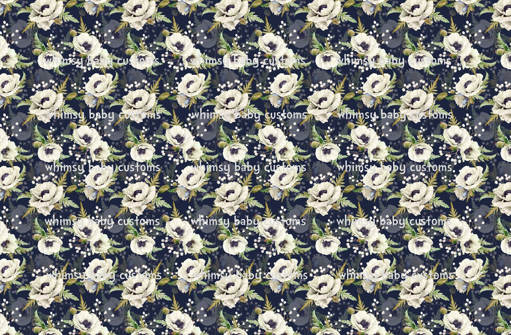 Fabric White Flowers on Navy on COTTON LYCRA