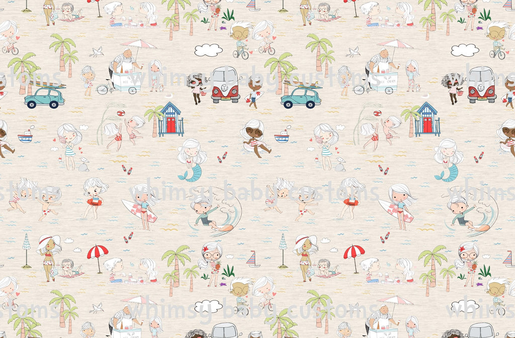 Fabric Natalia Beach Day on OATMEAL  on COTTON LYCRA