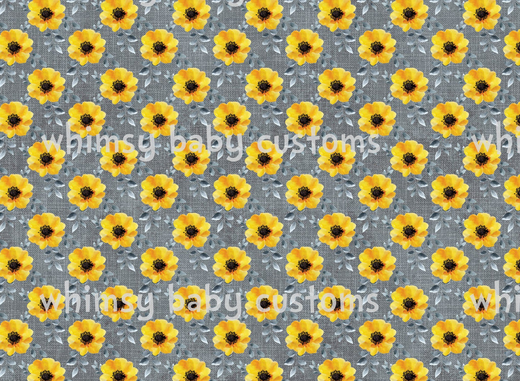 May/June 2020 Preorder - Fabric Yellow Flowers on Grey