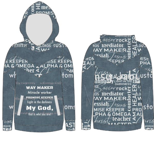 May/June 2020 Preorder - Fabric Names of God Dusty Blue Linen Look HALF AND HALF
