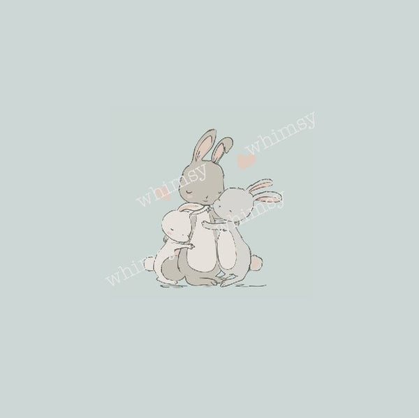818 Bunny mama and babies Hugging Child Panel