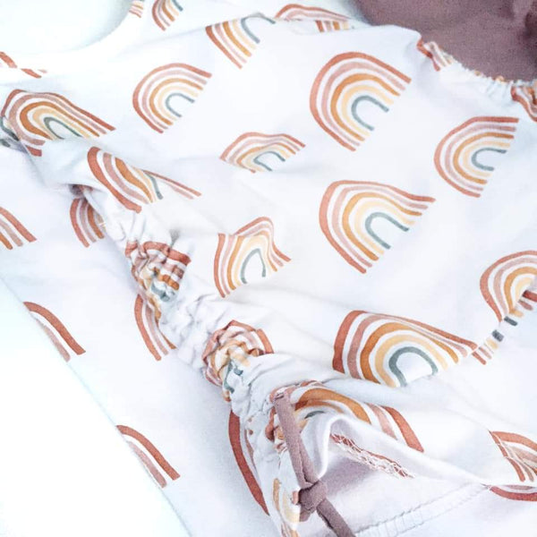 Fabric Earth toned Rainbow Collection Rainbows on White