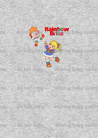 A1027H Adult/romper panel Rainbow Brite and Twink on HEATHER