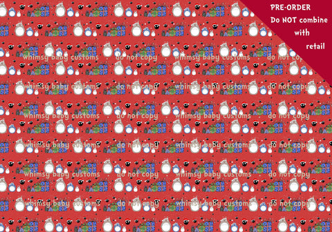 Fabric Christmas Totoro main fabric on red