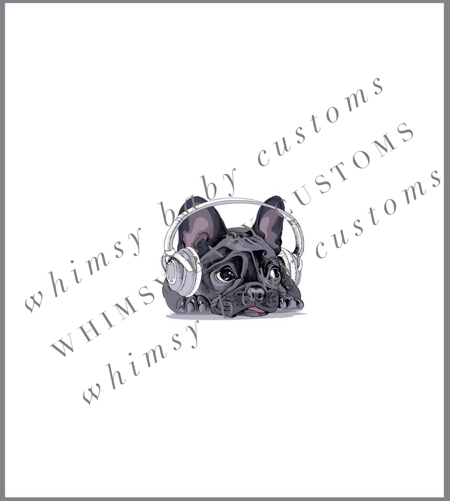 358 French Bulldog with Headphones Child Panel