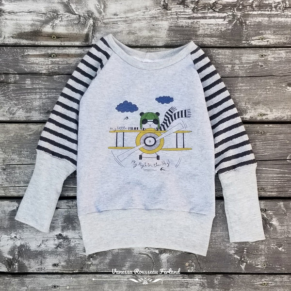 N685H  Fly High in the Sky Child Panel (on Heather Grey)
