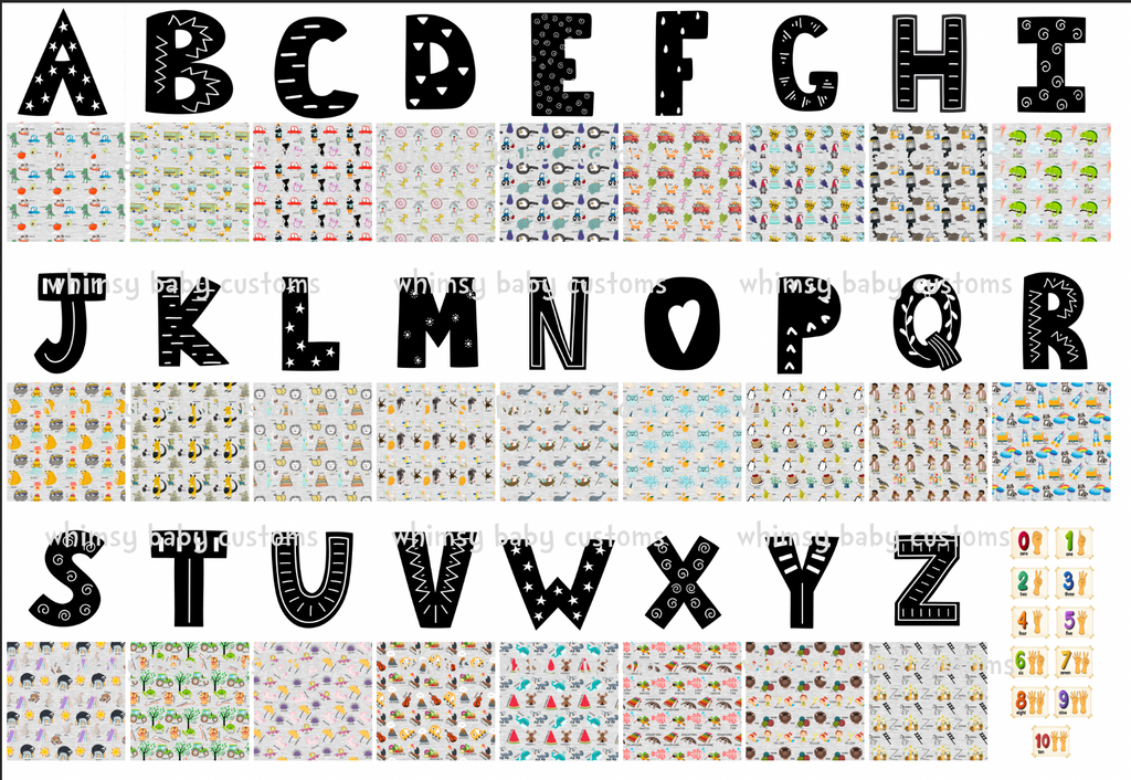 Fabric Now I Know My ABC...Alphabet stuffies on COTTON LYCRA
