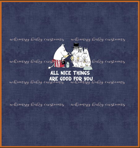 July/Aug 2020 Preorder - Child Panel Moonin All nice things are good for you on Navy Linen Look ON CL