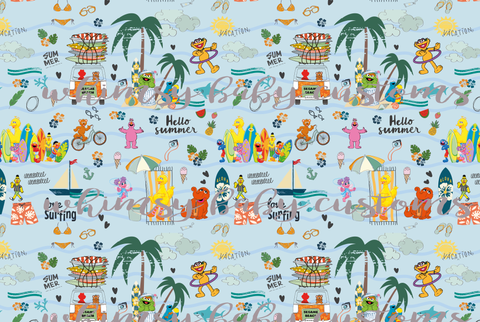 Swim Fabric Sesame Street at the Beach