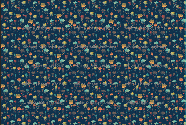 Nov/Dec 2019 Preorder - Fabric Earthtoned Rainbow Collection Rainclouds on Navy ON VARIOUS BASES