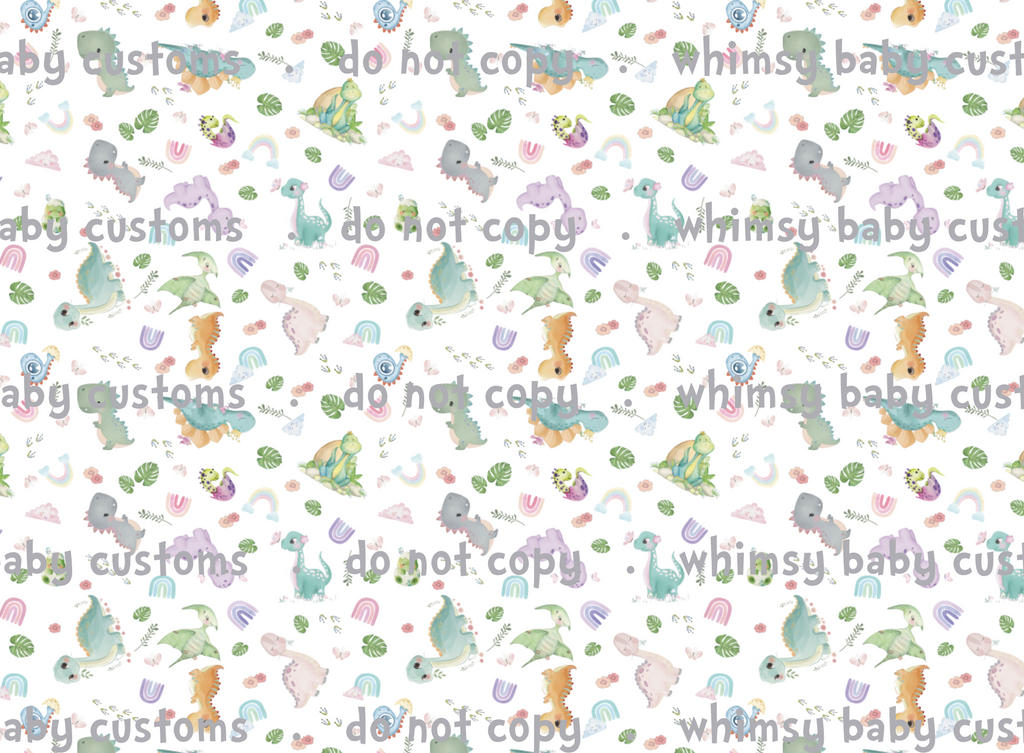 May/June 2020 Preorder - Fabric Watercolour Pastel Dinosaurs