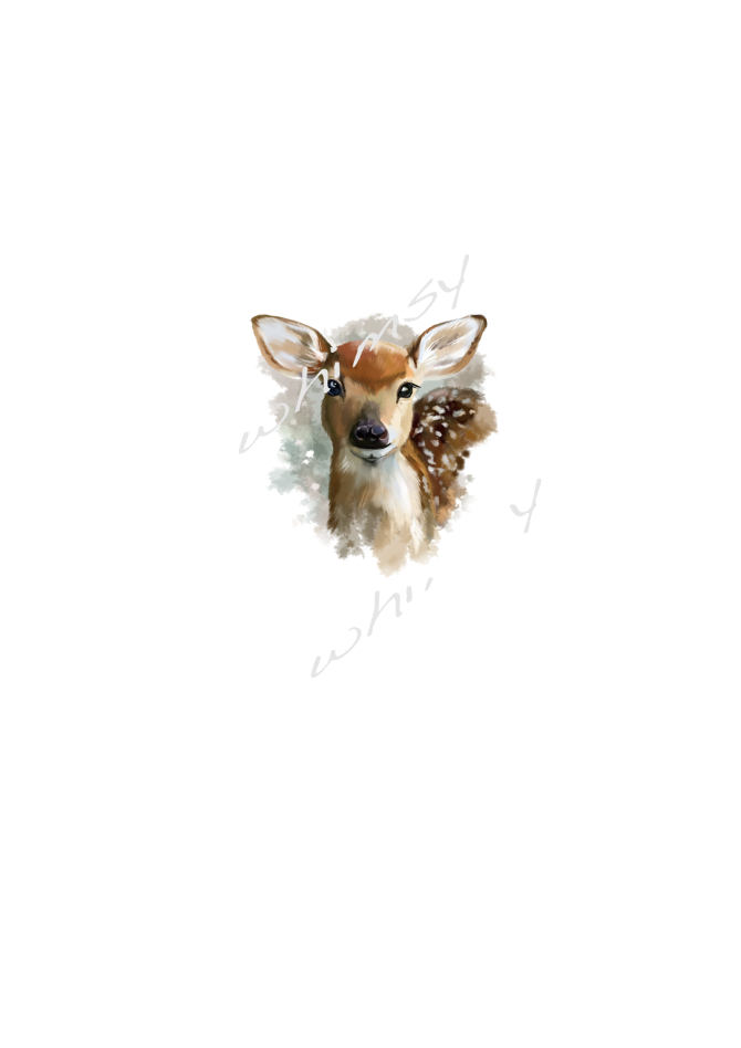 630 Watercolour Deer Child Panel