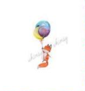 610 Watercolour Fox with Balloons Child Panel