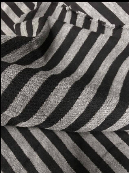 Black and Charcoal Striped Cotton Yarn Dyed French Terry