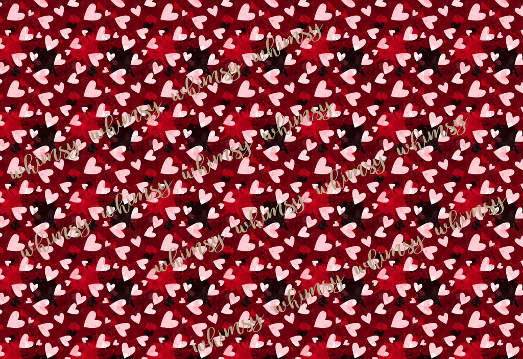 Valentine's Pink and Red Watercolour Hearts Fabric
