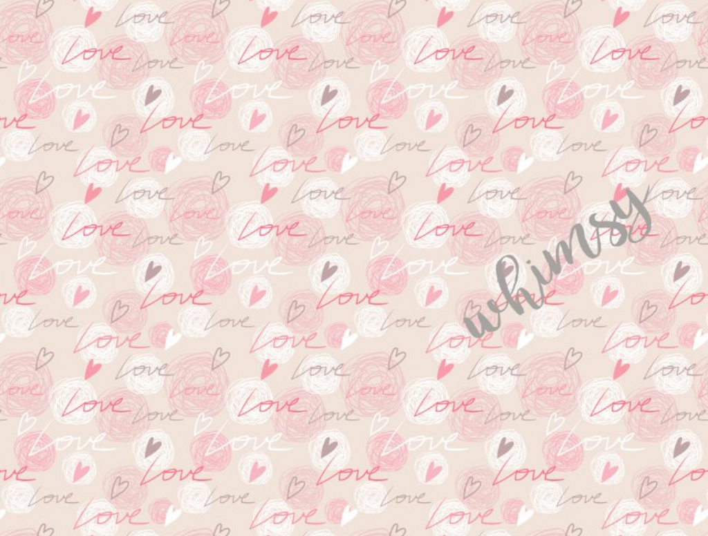 Valentine's Scribble Love Fabric