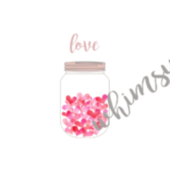 693 Valentine Hearts in Jar Child Panel